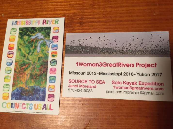 My new expedition cards with John Ruskey's Rivergator Map on the back. Rivergator is an online paddler's guide for the Middle/Lower Mississippi River. Visit at Rivergator.org