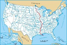 North America Map Mississippi River.Mississippi River 1woman 3great Rivers