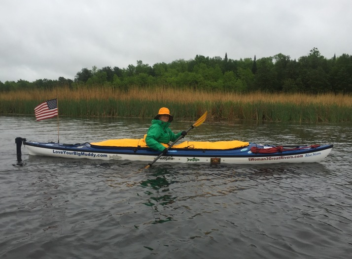 Thanks to Eddyline Kayaks, I am able to paddle in the rain with minimal adverse impact. And, the barges should be able to spot me a little more easily. The ship captains down New Orleans area said in 2013 that I looked like a pelican on the river. Ha!